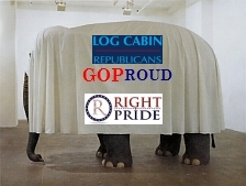 Log Cabin Republican, GOProud, Right Pride Republican Party's Symbolic Elephant With KKK White Hood and Sheet