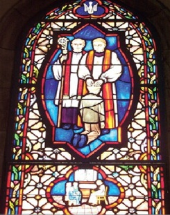 'Pedophile Priests Raping Kneeling Boy'' Stained Glass Window In A Catholic Church